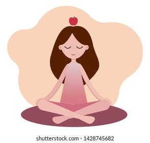 Girl doing yoga. Asana Padmasana (Lotus posture) Healthy lifestyle. Relaxing asana.