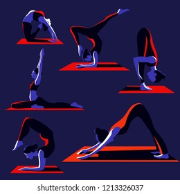girl doing yoga asana, yoga practice,set