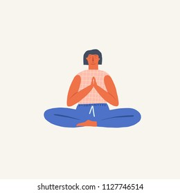 Girl doing yoga breathing exercise pranayama. Wellness illustration in vector.