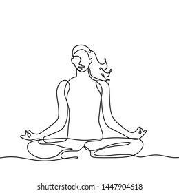 Girl doing yoga continuous one line drawing minimalism design