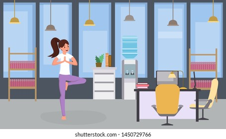 Girl doing yoga flat vector illustration. Woman practicing yoga, relaxed office worker exercising, stretching during working hours cartoon character. Keeping fit, relaxing, training body at job