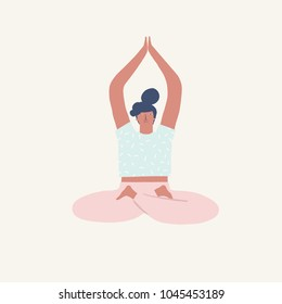 Girl doing yoga meditation in lotus pose illustration in vector.