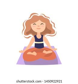 Girl doing yoga on yoga matt, in lotos pose. Little girl in lotos posture, yoga exersise, vector cartoon illustration
