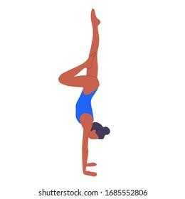 Girl doing yoga on a white background. Sports girl.