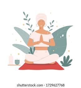 Girl doing yoga outdoors in nature. Female sitting with namaste hands. Kundalini yoga and meditation concept. Relax, calm, harmony and inner balance among plant leaves. Flat vector illustration.