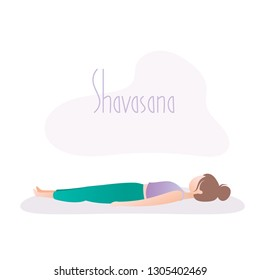 Girl doing yoga pose,Corpse Pose or Shavasana asana in hatha yoga,vector illustration in trendy style