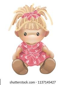 Girl doll illustration in vector isolated on white background. Children's toys for girls. Rag doll, needlework.