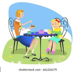 Girl with doll playing tea time at garden table (vector illustration)