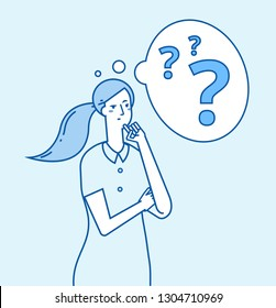 Girl in doubt. Young confused woman thinking. Pensive worried thoughtful businesswoman with problems vector concept