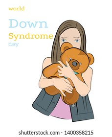 girl with down syndrome is holding a toy. World Down Syndrome Day.