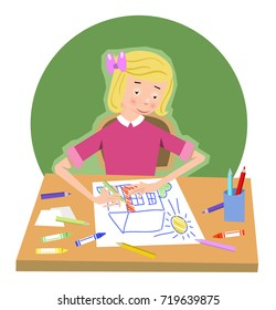 Girl drawing a picture of a house; color pencils and crayons on table (flat color illustration)