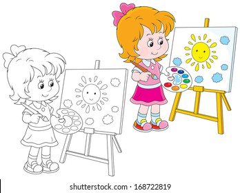 Girl drawing a picture with a smiling sun and clouds