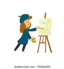 the girl draws paints on the easel. vector illustration