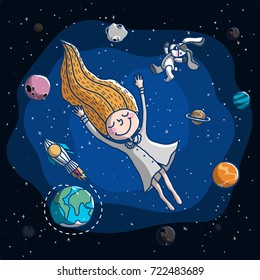 The girl dreamed that she drifted out of the world with a planet. concept or kids book.