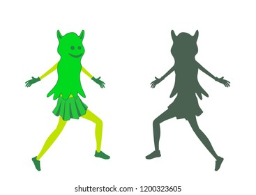 Girl dress in halloween costume with mask on the face. Fancy dress of ghost. Ghost silhouette. Vector illustration.