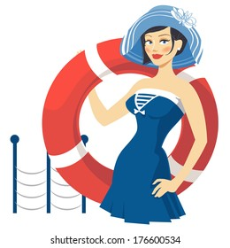 girl in dress with lifebuoy