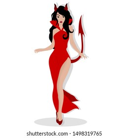 Girl dressed as a devil. Halloween costume. Vector art