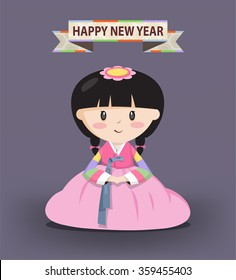 A Girl dressed in Korean traditional costume called Han-bok is bowing for the holiday. Happy new year included.