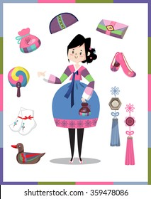 """A Girl dressed in Korean traditional costume called Han-bok and accessories. Chinese letter meaning """"Good luck"""" included."""