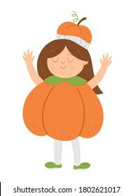 Girl dressed like a pumpkin. Cute vector Halloween kid character. Child in jack-o-lantern costume. Funny autumn all saints eve illustration. Samhain dress party design
