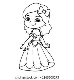 Girl Dressed As Princess In Blue Dress BW.