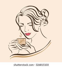 girl drinking coffee, vector, sketch