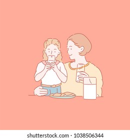 A girl drinking milk with her mother. hand drawn style vector doodle design illustrations.
