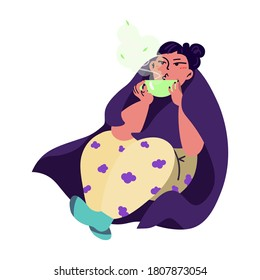 The girl is drinking tea. Sits in a chair. Wrapped up in a blanket. Beauty, care, hygiene concept clipart. Vector. Flat.