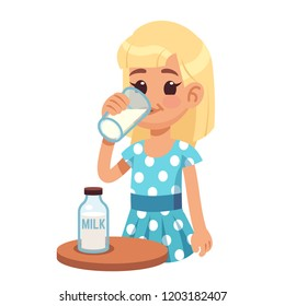 Girl drinks milk. Cartoon happy kid drinking cow milk in glass. Healthy childhood and dairy products vector concept. Milk in glass breakfast, tasty delicious natural organic illustration