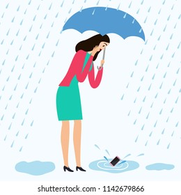 Girl drop her mobile phone into a puddle.  Water accident with electronics. Cartoon illustration for your design.