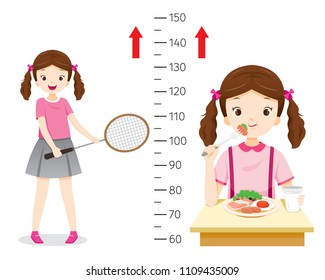 Girl Eating Food And Playing Sport For Health And Taller. Girl Measuring Her Height, Tall, Healthy, Care, People, Lifestyle