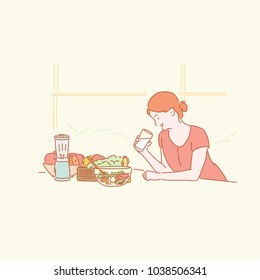 A girl eating fresh, healthy food and drinking water. hand drawn style vector doodle design illustrations.