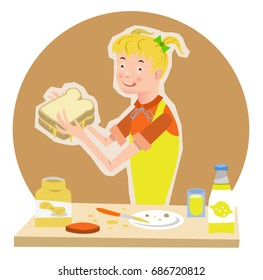 Girl eating toast with peanut butter (vector illustration)