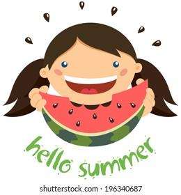 Girl eating watermelon. Hello summer!