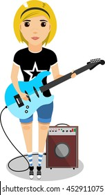girl with an electric guitar in his hands next to the audio amplifier in flat style