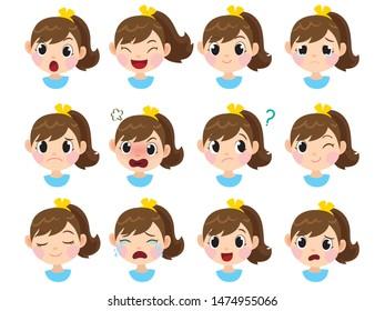 girl emotion set child expression