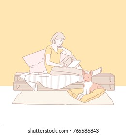 A girl enjoying a dog and relaxing afternoon. hand drawn style vector doodle design illustrations.