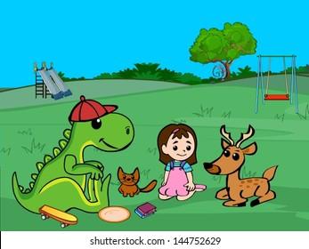 girl enjoying picnic out in the garden