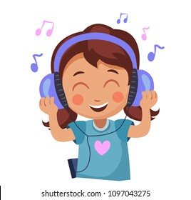 girl enjoys the music. kid in headphones listening to music vector illustration