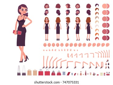Girl in evening dress character creation set. Party woman in black trendy luxury gown. Full length, different views, gestures. Build your own design. Cartoon flat-style infographic illustration