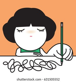 Girl Expresses Her Upset Stressful Mood On White Paper Concept Card Character illustration