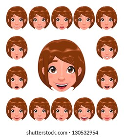 Girl expressions with lip sync. Funny cartoon and vector isolated character.
