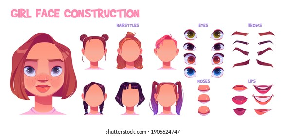 Girl face construction, avatar creation with different head parts isolated on white background. Vector cartoon set of young woman or child eyes, noses, brows and lips. Skin pack for face generator