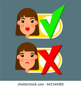 Girl face with emotion and yes and no signs for check box for web or animation in flat style