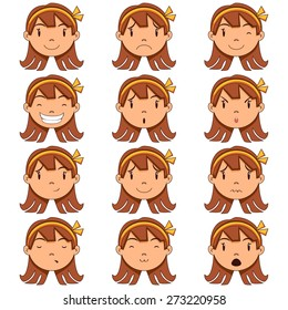 Girl face expressions, vector illustration, set collection