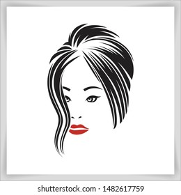 girl face logo under concept beauty of women
