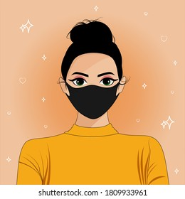 girl with a face mask , wear your mask properly with style