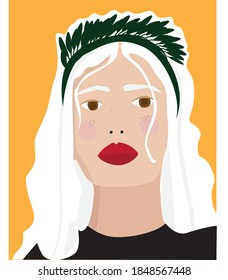 girl face print young woman portre illustration