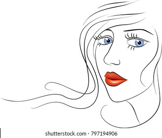 Girl face sketch. White background