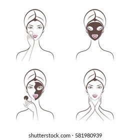 girl facials spa set vector